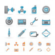 Stock Vector: Realistic Car Parts and Services icons