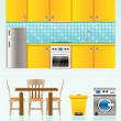 Kitchen objects, furniture and equipment - Stock Vector