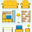 Royalty-Free Stock Imagem Vetorial: Living room objects, furniture and equipment