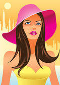 Fashion girls with hat — Stock Vector