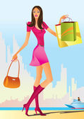 Fashion shopping girls with shopping bag — Stock Vector