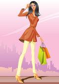 Fashion shopping girls with shopping bag — Stock Vector