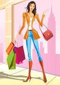 时尚购物女孩与在纽约的购物袋 — 图库矢量图片