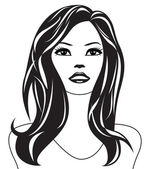 Abstract woman black and white portrait — Stock Vector