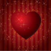 Red hearts Valentines Day Background with stars — Stock Vector