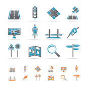 Road, navigation and travel icons — Stock Vector