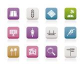 Icônes de route, navigation et voyages — Vecteur