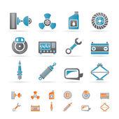 Icônes de pièces et services voiture réaliste — Vecteur
