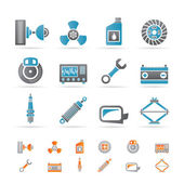 Realistic Car Parts and Services icons — Vector de stock