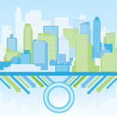 Green and blue city background — Stock Vector