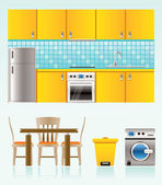 Kitchen objects, furniture and equipment — Stock Vector