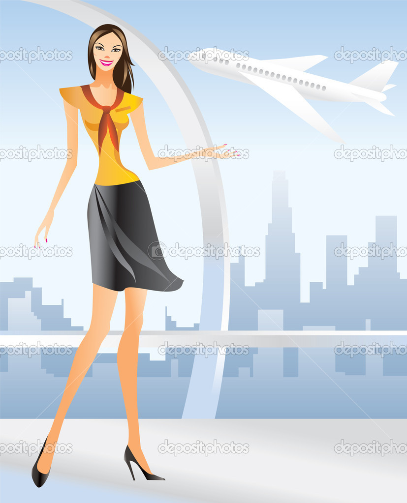 Beautiful Stewardess at the airport in Los angeles - vector illustration — Stock Vector #5180315