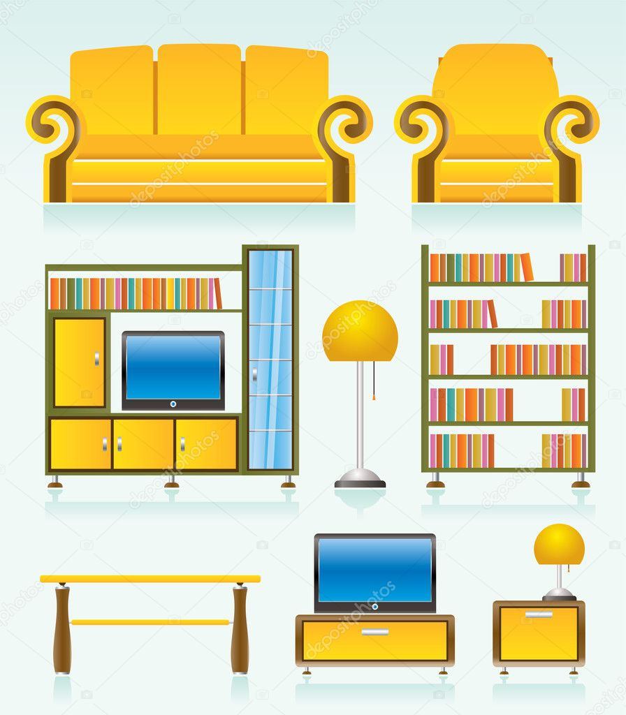 Furniture Ideas For Living Room Stock Vector: Living Room Objects, Furniture And Equipment