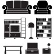 Living room objects, furniture and equipment — Vettoriali Stock