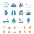 Travel, Tourism, vacation  and mountain objects - Stock Vector