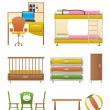 Nursery and children room objects, furniture and equipment - Stock Vector