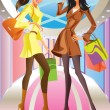 Stock Vector: Two fashion shopping girl with bag in mall