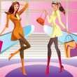 Royalty-Free Stock Vector: Two fashion shopping girl with bag in mall