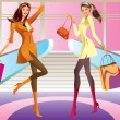 Two fashion shopping girl with bag in mall - Stock Vector