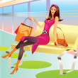 Fashion shopping girl with bag relax in mall - Stock Vector