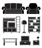 Living room objects, furniture and equipment — Stockvektor