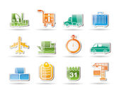 Logistics, shipping and transportation objects — Stock Vector