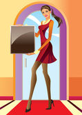 Fashion girl with advertisement board — Stock Vector