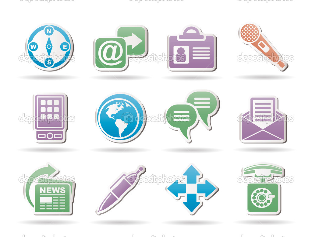Business, office and internet objects and signs - vector illustration — Stock Vector #5190025
