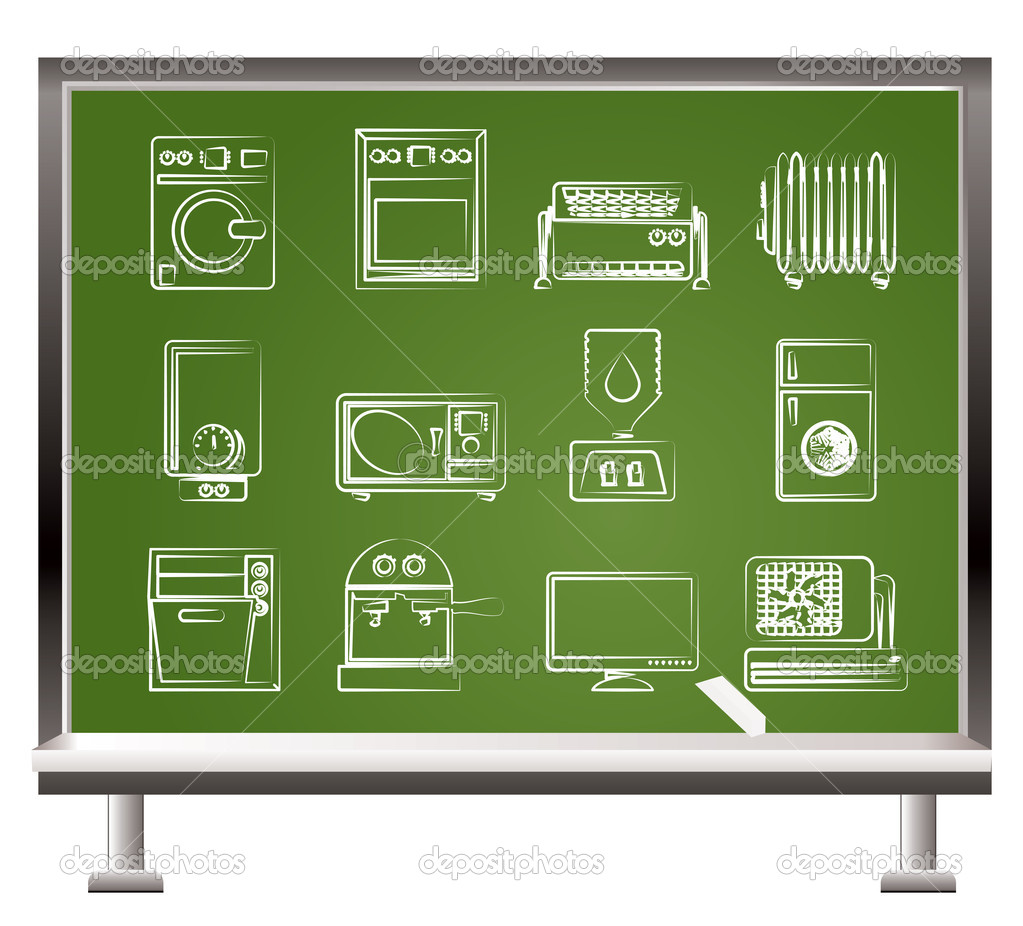 Painted with chalk Home electronics and equipment objects - vector illustration — Stock Vector #5190703