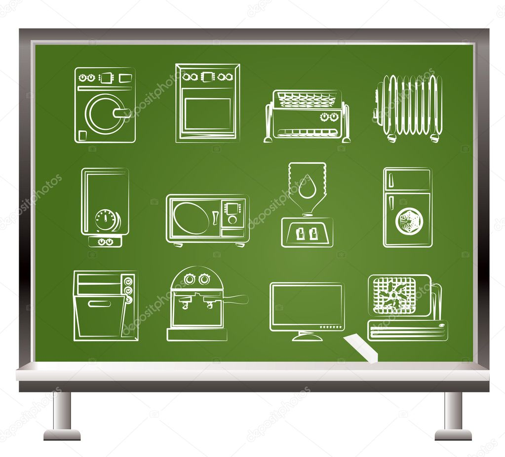 Painted with chalk Home electronics and equipment objects - vector illustration  Stock Vector #5190703