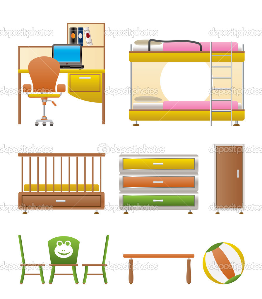 Nursery and children room objects, furniture and equipment - vector illustration — Stock Vector #5190858