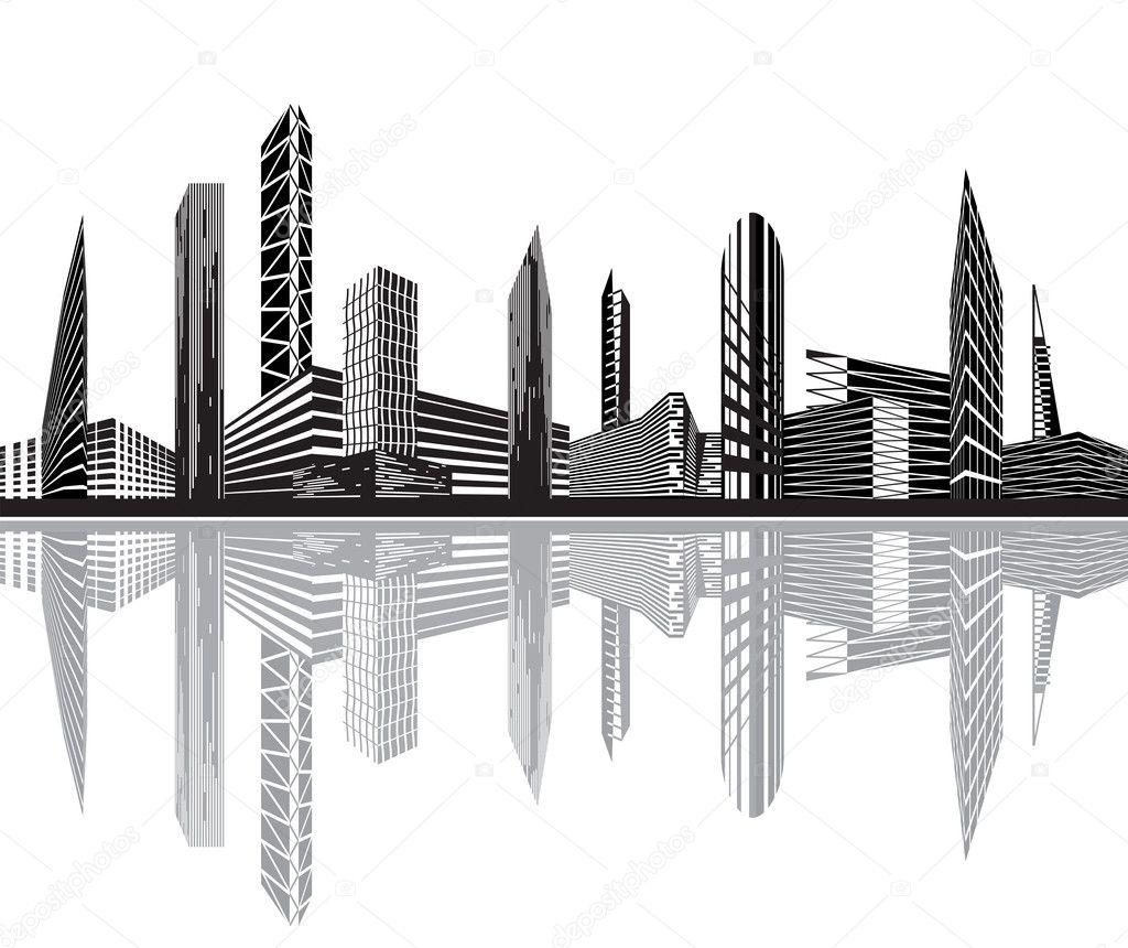 Black buildings clipart