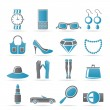 Woman and female Accessories icons — Stock Vector