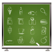 Painted with chalk shop, food and drink icons — Stock Vector