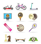 Sports equipment and objects icons — Stock Vector