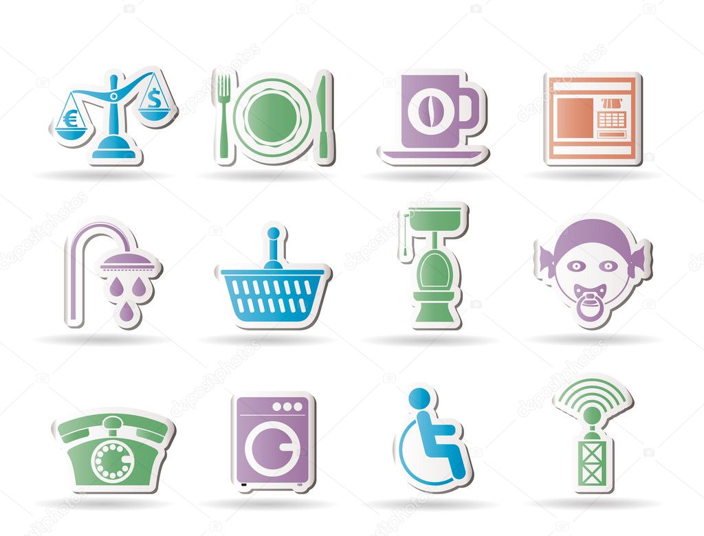Roadside, hotel and motel services icons  - vector icon set — Stock Vector #5248606