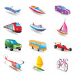 Different kind of transportation and travel icons - Stock Vector