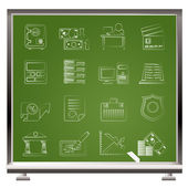 Ainted with chalk bank, business, finance and office icons - vector icon s — Stock Vector