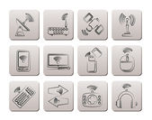 Wireless and communication technology icons — Stock Vector