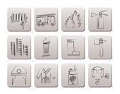 Fire-brigade and fireman equipment icon — Stock Vector