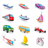 Different kind of transportation and travel icons — Stock Vector