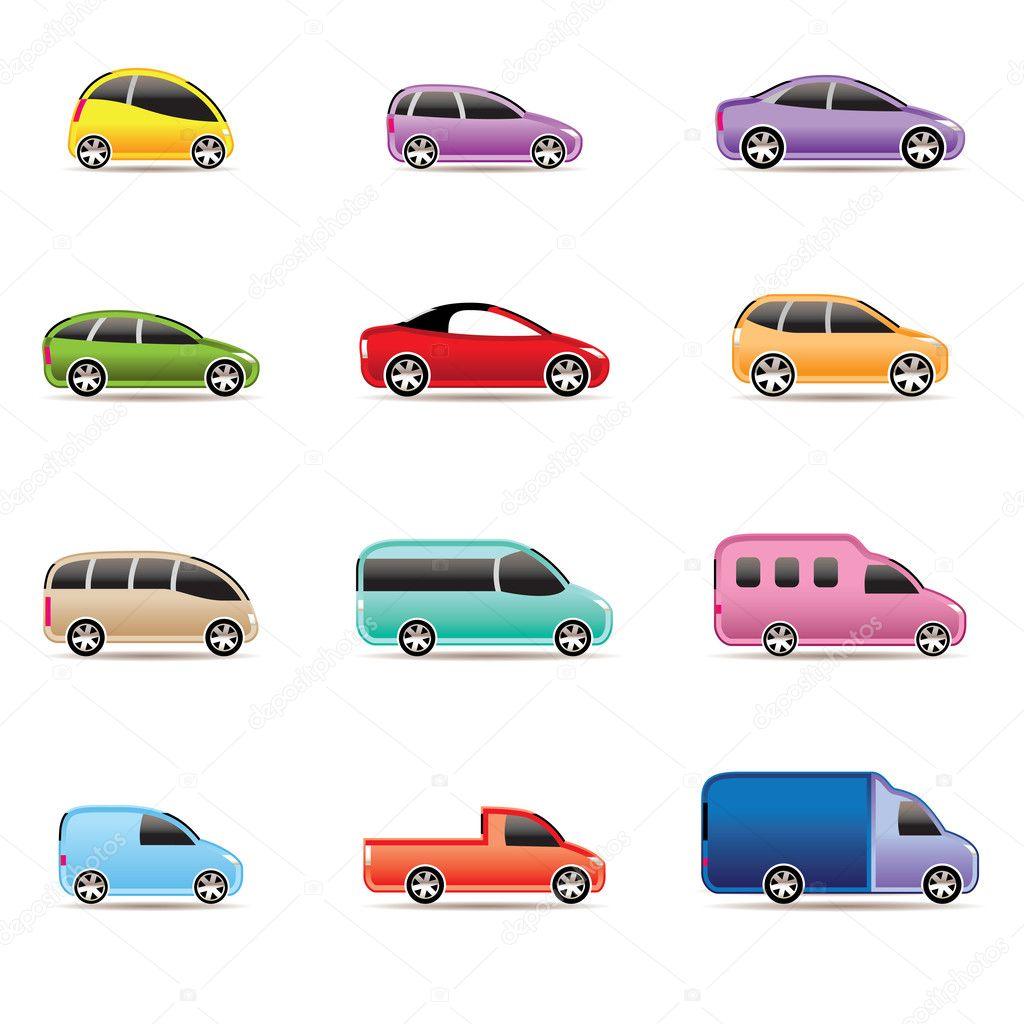 Different types of cars icons - Vector icon set — Image vectorielle #5353354