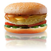 Burger with an omelette. A fast food. — Stock Photo