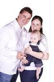 母、父および息子の幸せな家族の肖像画 — ストック写真