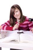 Jovem estudante estudar para os exames — Foto Stock
