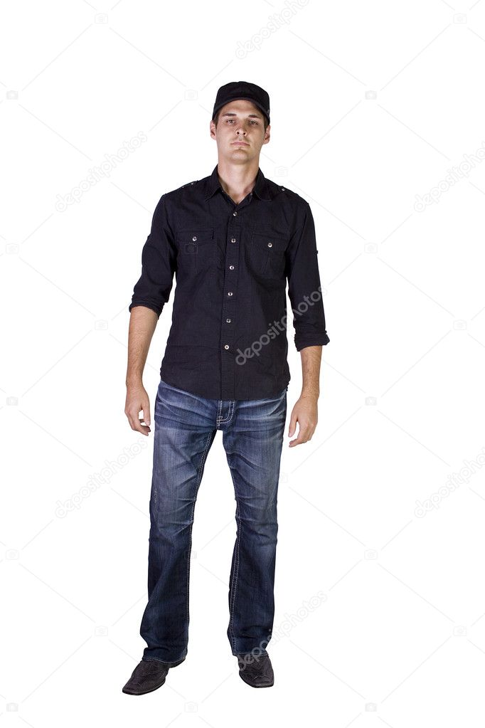 Isolated Shot of a Good Looking young man standing up — Stock Photo #4499092