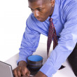 Black Businessman at His Desk Working — Stock Photo