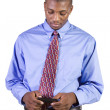 Casual Black man Texting On His Cell Phone — Stock Photo