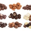 Chocolate covered nuts and fruit — Stock Photo