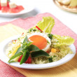 Couscous and fried egg - Stok fotoğraf